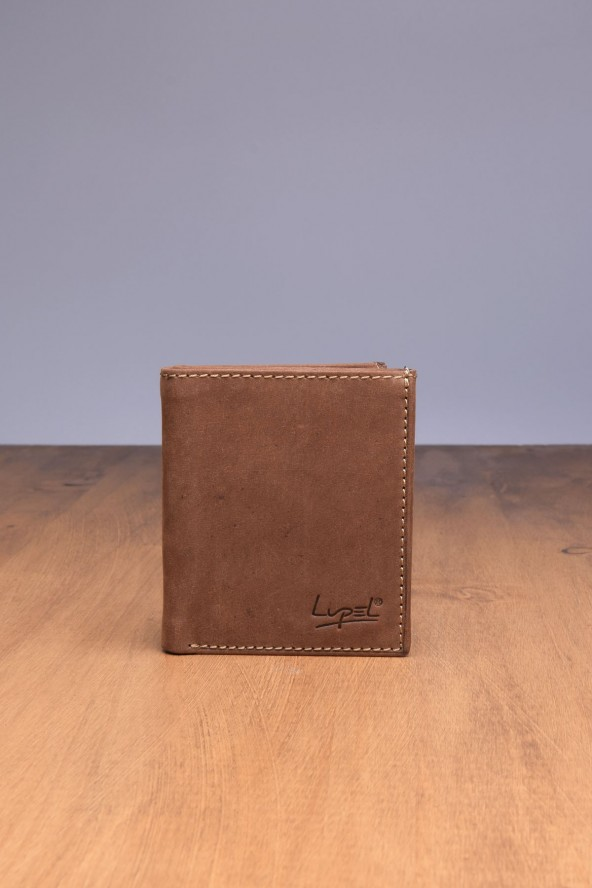 Portefeuille en cuir Lupel - Marron